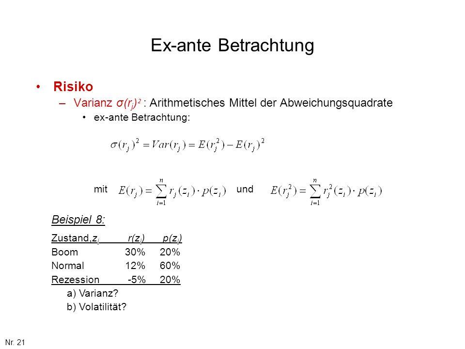 Nr. 21 Ex-ante Betrachtung Risiko –Varianz σ(r j ) ² : Arithmetisches Mittel der Abweichungsquadrate ex-ante Betrachtung: mit und Beispiel 8: Zustand,