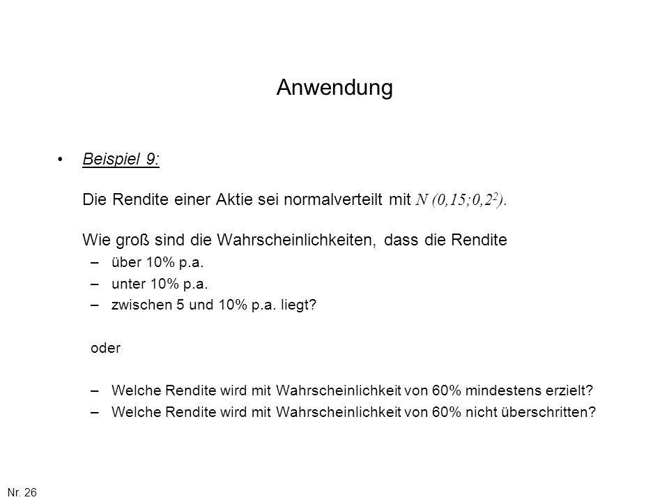 Nr. 26 Anwendung Beispiel 9: Die Rendite einer Aktie sei normalverteilt mit N (0,15;0,2 2 ). Wie groß sind die Wahrscheinlichkeiten, dass die Rendite
