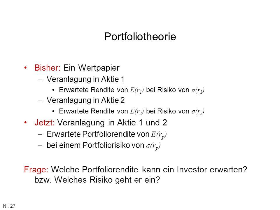 Nr. 27 Portfoliotheorie Bisher: Ein Wertpapier –Veranlagung in Aktie 1 Erwartete Rendite von E(r 1 ) bei Risiko von σ(r 1 ) –Veranlagung in Aktie 2 Er