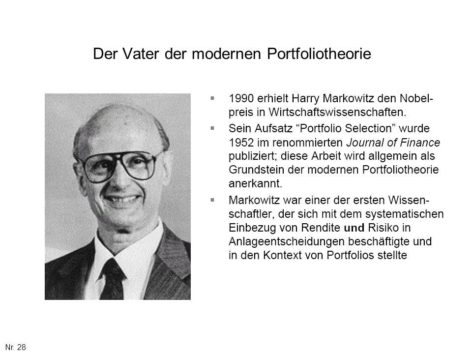 Nr. 28 Der Vater der modernen Portfoliotheorie