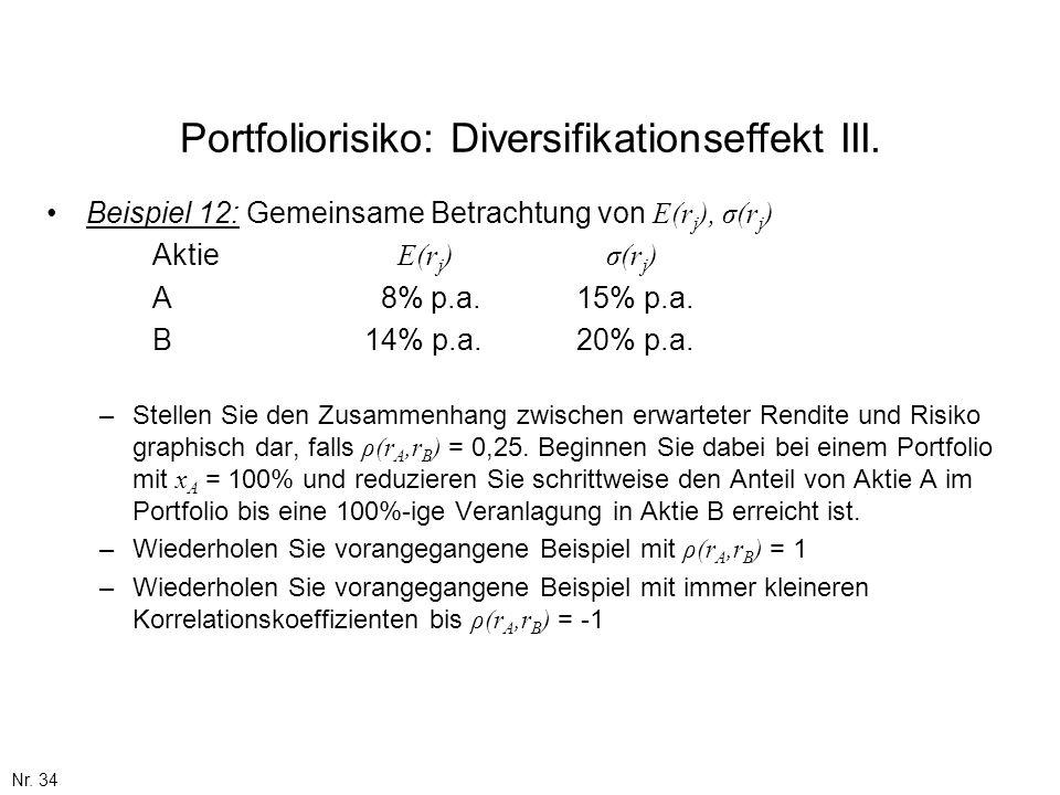 Nr. 34 Portfoliorisiko: Diversifikationseffekt III. Beispiel 12: Gemeinsame Betrachtung von E(r j ), σ(r j ) Aktie E(r j ) σ(r j ) A 8% p.a.15% p.a. B