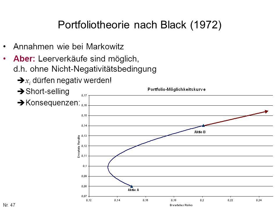 Nr. 47 Portfoliotheorie nach Black (1972) Annahmen wie bei Markowitz Aber: Leerverkäufe sind möglich, d.h. ohne Nicht-Negativitätsbedingung x i dürfen