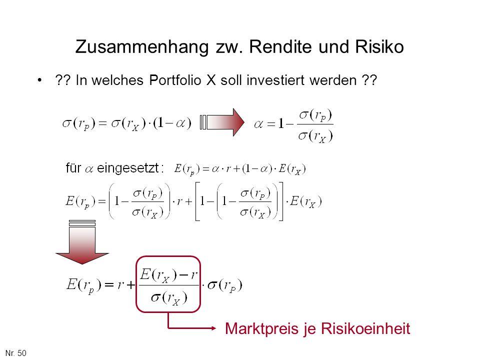 Nr. 50 Zusammenhang zw. Rendite und Risiko ?? In welches Portfolio X soll investiert werden ?? Marktpreis je Risikoeinheit