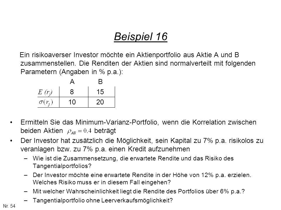 Nr. 54 Beispiel 16 Ein risikoaverser Investor möchte ein Aktienportfolio aus Aktie A und B zusammenstellen. Die Renditen der Aktien sind normalverteil