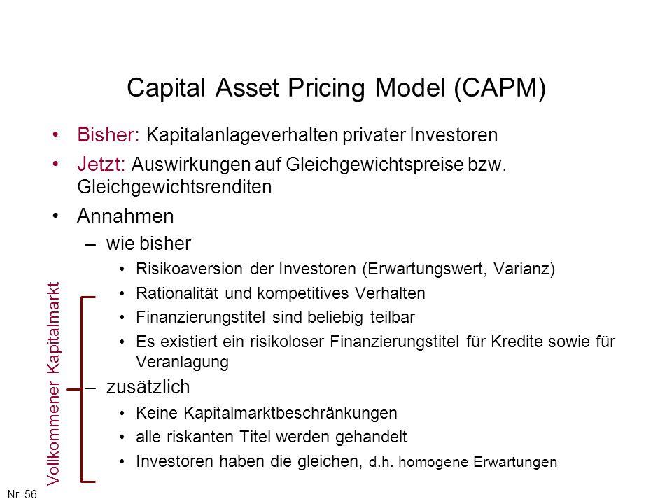 Nr. 56 Capital Asset Pricing Model (CAPM) Bisher: Kapitalanlageverhalten privater Investoren Jetzt: Auswirkungen auf Gleichgewichtspreise bzw. Gleichg