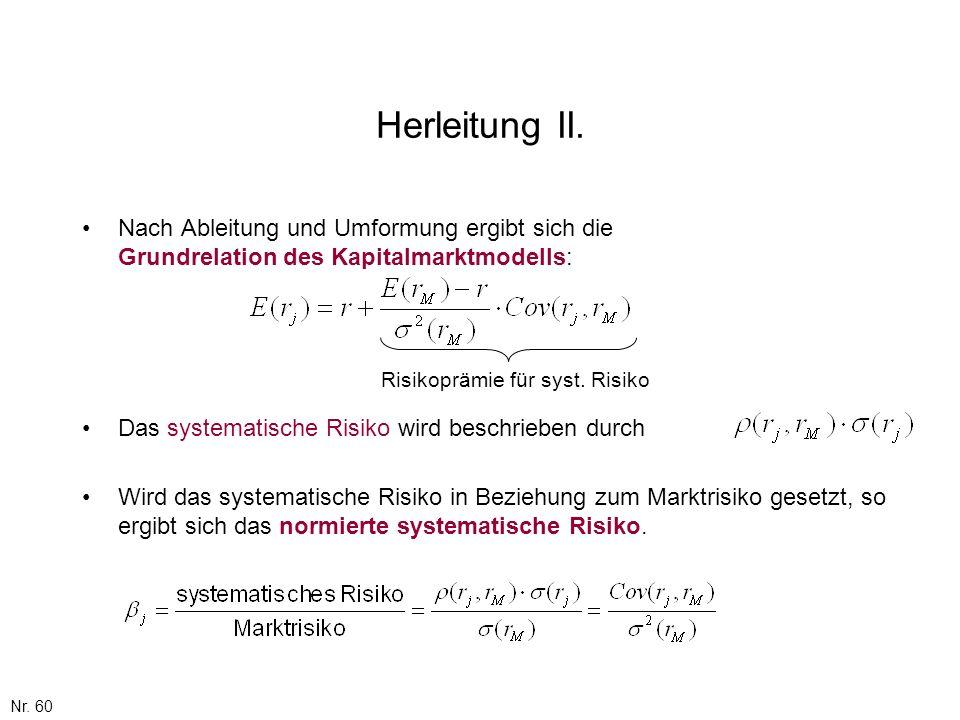 Nr. 60 Herleitung II. Nach Ableitung und Umformung ergibt sich die Grundrelation des Kapitalmarktmodells: Wird das systematische Risiko in Beziehung z