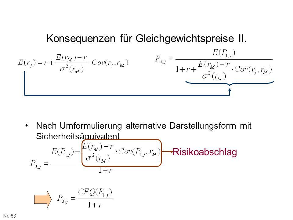 Nr. 63 Konsequenzen für Gleichgewichtspreise II. Nach Umformulierung alternative Darstellungsform mit Sicherheitsäquivalent Risikoabschlag