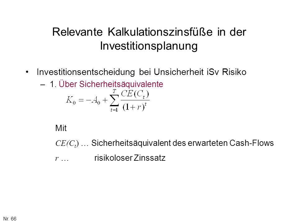 Nr. 66 Relevante Kalkulationszinsfüße in der Investitionsplanung Investitionsentscheidung bei Unsicherheit iSv Risiko –1. Über Sicherheitsäquivalente