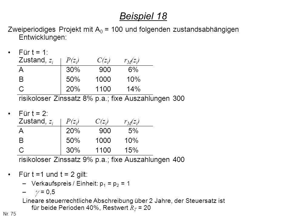 Nr. 75 Beispiel 18 Zweiperiodiges Projekt mit A 0 = 100 und folgenden zustandsabhängigen Entwicklungen: Für t = 1: Zustand, z i P(z i ) C(z i )r M (z