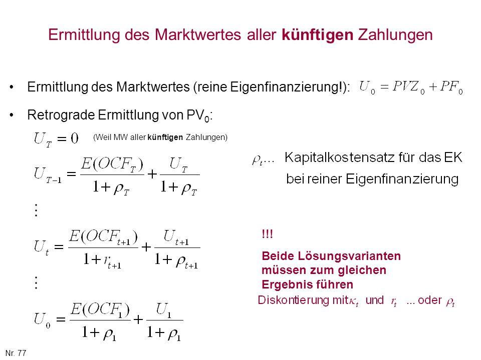 Nr. 77 Ermittlung des Marktwertes aller künftigen Zahlungen Ermittlung des Marktwertes (reine Eigenfinanzierung!): Retrograde Ermittlung von PV 0 : (W