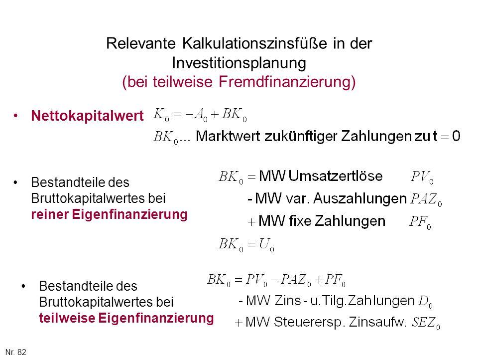 Nr. 82 Relevante Kalkulationszinsfüße in der Investitionsplanung (bei teilweise Fremdfinanzierung) Nettokapitalwert Bestandteile des Bruttokapitalwert