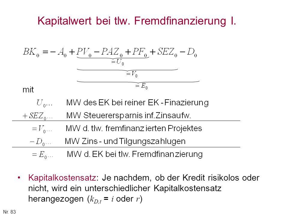 Nr. 83 Kapitalwert bei tlw. Fremdfinanzierung I. Kapitalkostensatz: Je nachdem, ob der Kredit risikolos oder nicht, wird ein unterschiedlicher Kapital