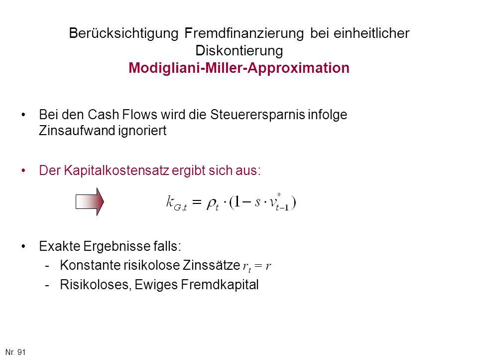 Nr. 91 Berücksichtigung Fremdfinanzierung bei einheitlicher Diskontierung Modigliani-Miller-Approximation Bei den Cash Flows wird die Steuerersparnis