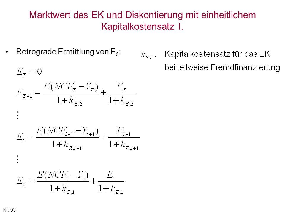 Nr. 93 Marktwert des EK und Diskontierung mit einheitlichem Kapitalkostensatz I. Retrograde Ermittlung von E 0 :