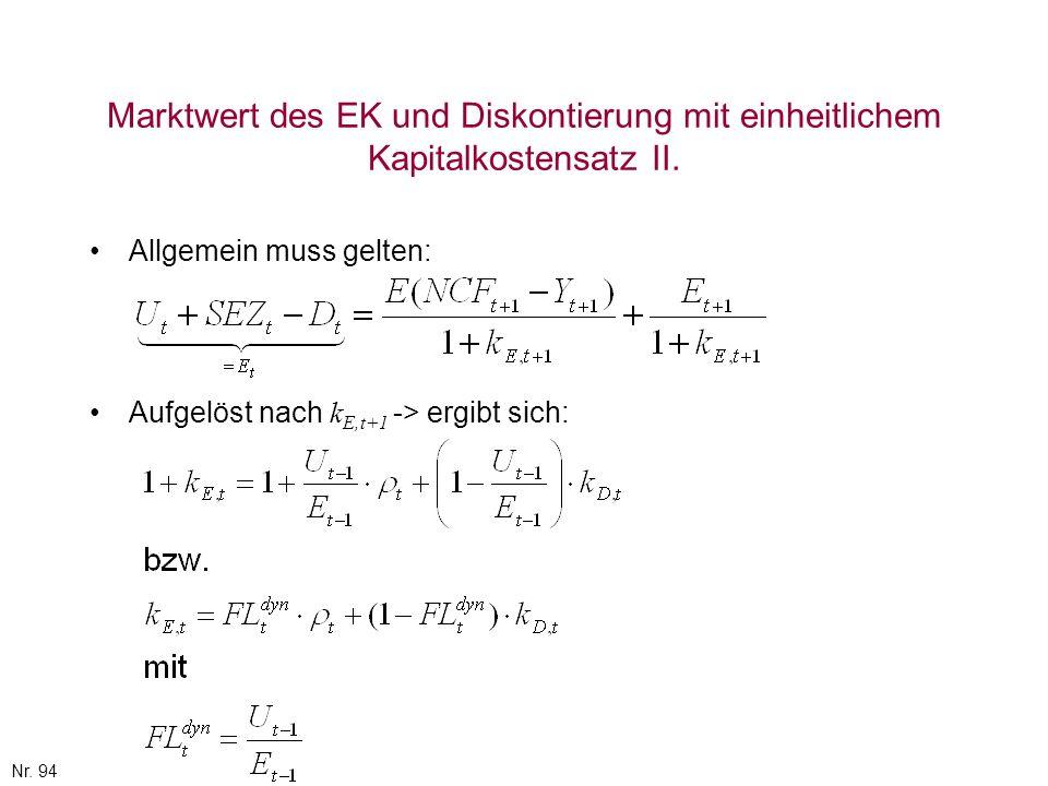 Nr. 94 Marktwert des EK und Diskontierung mit einheitlichem Kapitalkostensatz II. Allgemein muss gelten: Aufgelöst nach k E,t+1 -> ergibt sich: