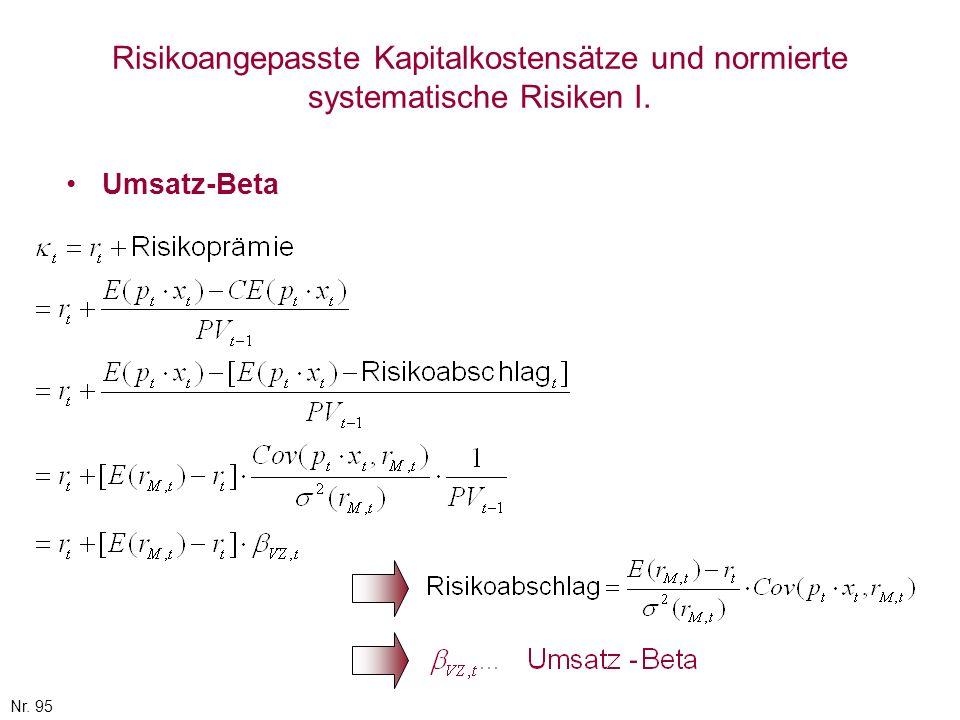 Nr. 95 Risikoangepasste Kapitalkostensätze und normierte systematische Risiken I. Umsatz-Beta