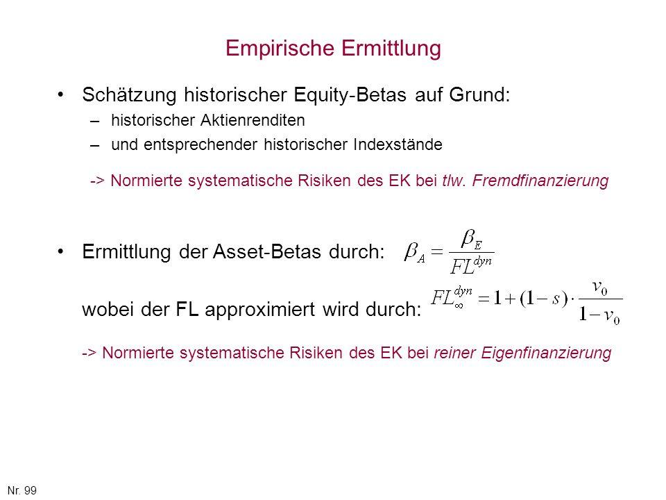 Nr. 99 Empirische Ermittlung Schätzung historischer Equity-Betas auf Grund: –historischer Aktienrenditen –und entsprechender historischer Indexstände