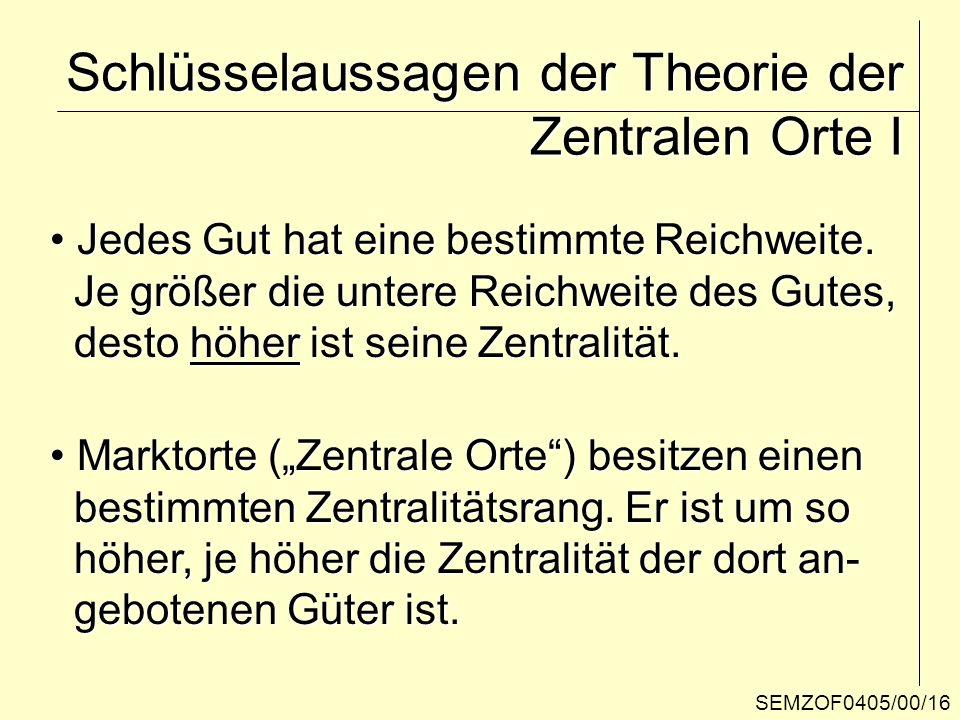SEMZOF0405/00/16 Schlüsselaussagen der Theorie der Zentralen Orte I Jedes Gut hat eine bestimmte Reichweite. Jedes Gut hat eine bestimmte Reichweite.