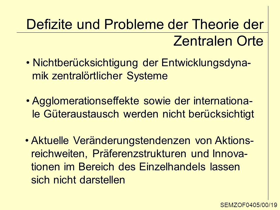 SEMZOF0405/00/19 Defizite und Probleme der Theorie der Zentralen Orte Nichtberücksichtigung der Entwicklungsdyna- Nichtberücksichtigung der Entwicklun