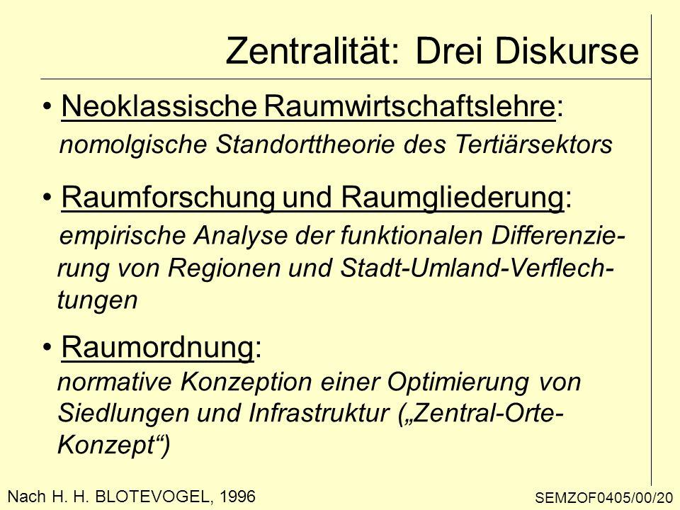 Nach H. H. BLOTEVOGEL, 1996 Zentralität: Drei Diskurse Neoklassische Raumwirtschaftslehre: nomolgische Standorttheorie des Tertiärsektors Raumforschun