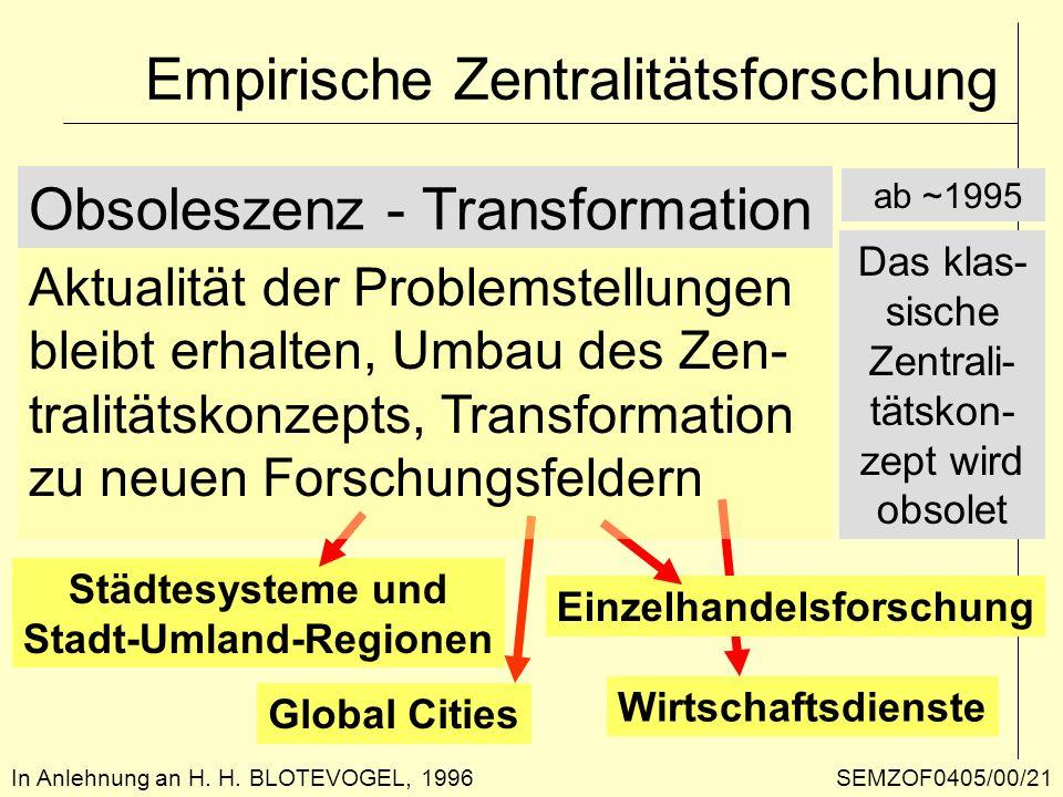 Empirische Zentralitätsforschung In Anlehnung an H. H. BLOTEVOGEL, 1996 Obsoleszenz - Transformation Städtesysteme und Stadt-Umland-Regionen Wirtschaf