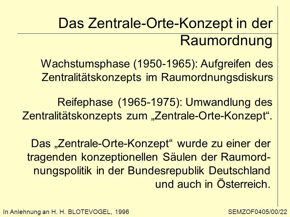 Das Zentrale-Orte-Konzept in der Raumordnung In Anlehnung an H. H. BLOTEVOGEL, 1996 Reifephase (1965-1975): Umwandlung des Zentralitätskonzepts zum Ze