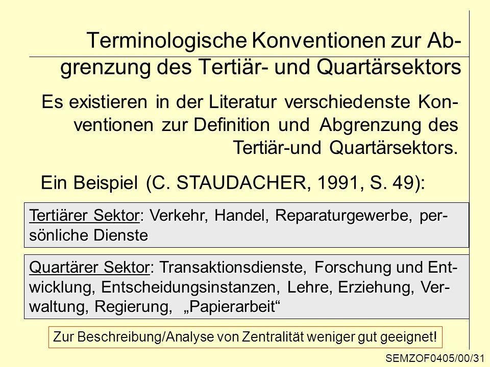 Terminologische Konventionen zur Ab- grenzung des Tertiär- und Quartärsektors Es existieren in der Literatur verschiedenste Kon- ventionen zur Definit