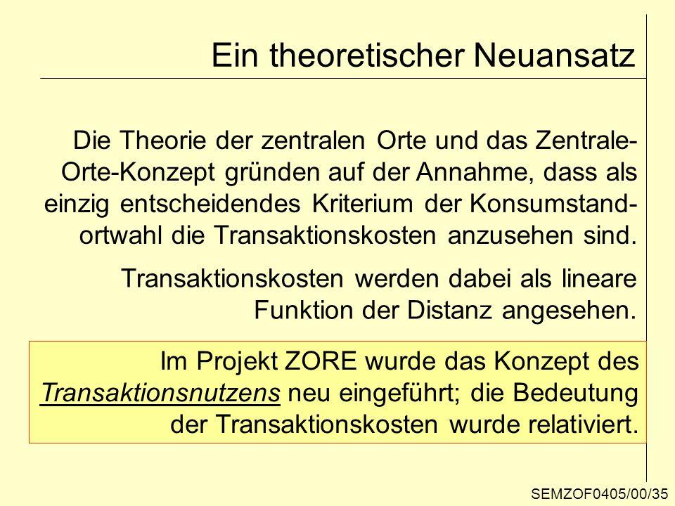 Ein theoretischer Neuansatz Die Theorie der zentralen Orte und das Zentrale- Orte-Konzept gründen auf der Annahme, dass als einzig entscheidendes Krit