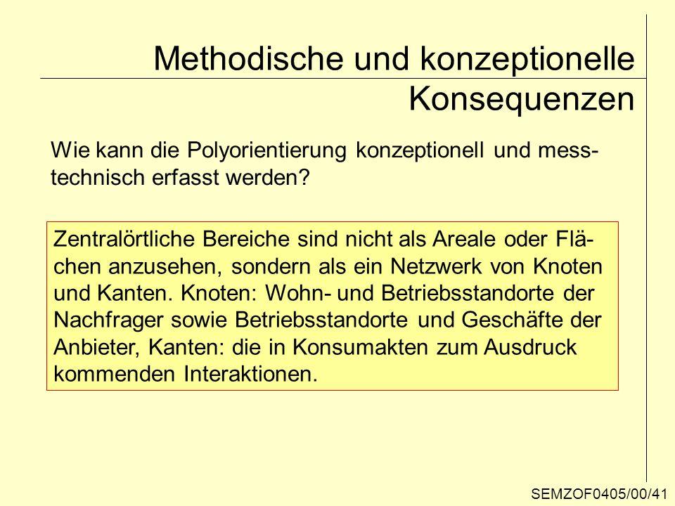 Methodische und konzeptionelle Konsequenzen Wie kann die Polyorientierung konzeptionell und mess- technisch erfasst werden? Zentralörtliche Bereiche s