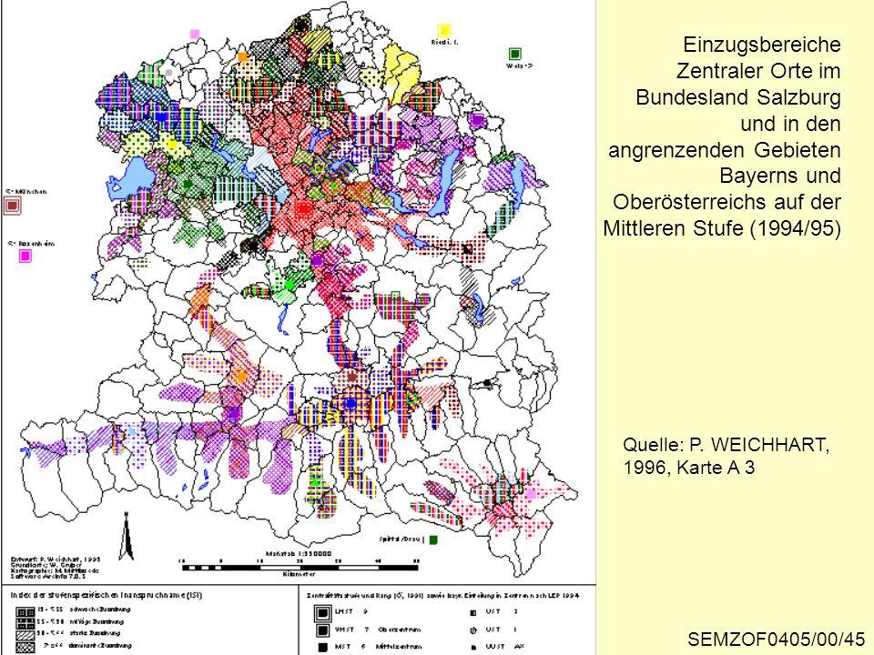 Einzugsbereiche Zentraler Orte im Bundesland Salzburg und in den angrenzenden Gebieten Bayerns und Oberösterreichs auf der Mittleren Stufe (1994/95) Q