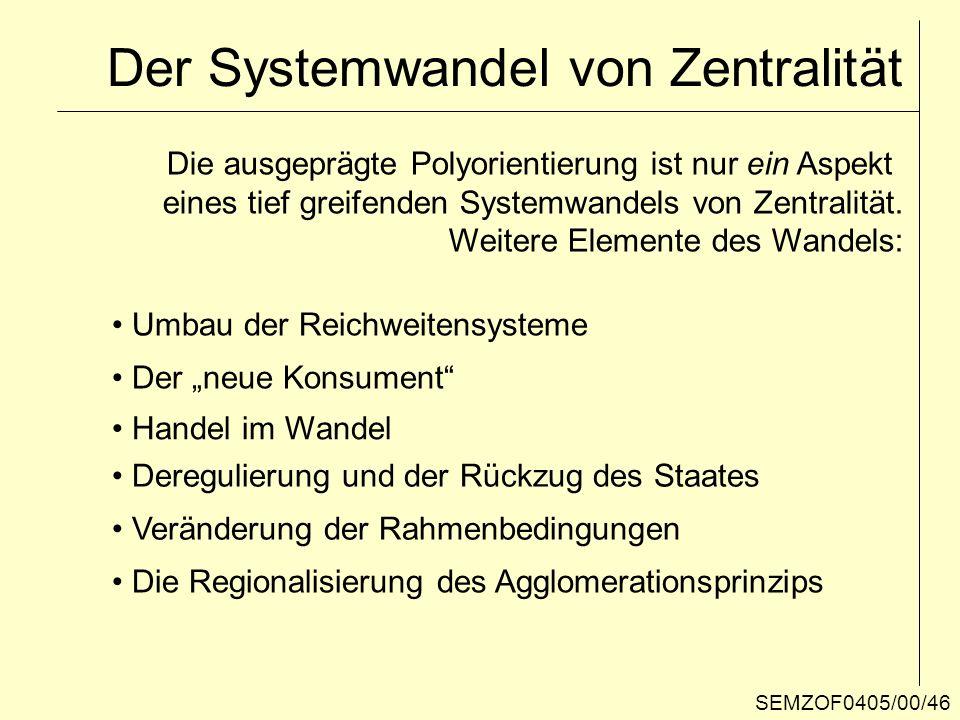 Der Systemwandel von Zentralität Die ausgeprägte Polyorientierung ist nur ein Aspekt eines tief greifenden Systemwandels von Zentralität. Weitere Elem