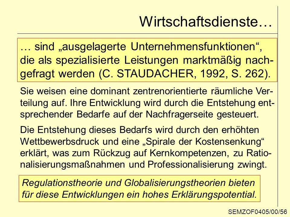 Wirtschaftsdienste… … sind ausgelagerte Unternehmensfunktionen, die als spezialisierte Leistungen marktmäßig nach- gefragt werden (C. STAUDACHER, 1992