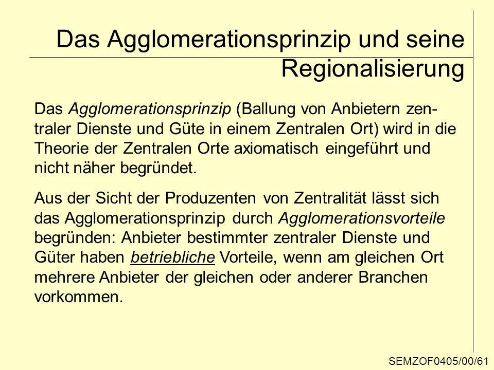 Das Agglomerationsprinzip und seine Regionalisierung Das Agglomerationsprinzip (Ballung von Anbietern zen- traler Dienste und Güte in einem Zentralen