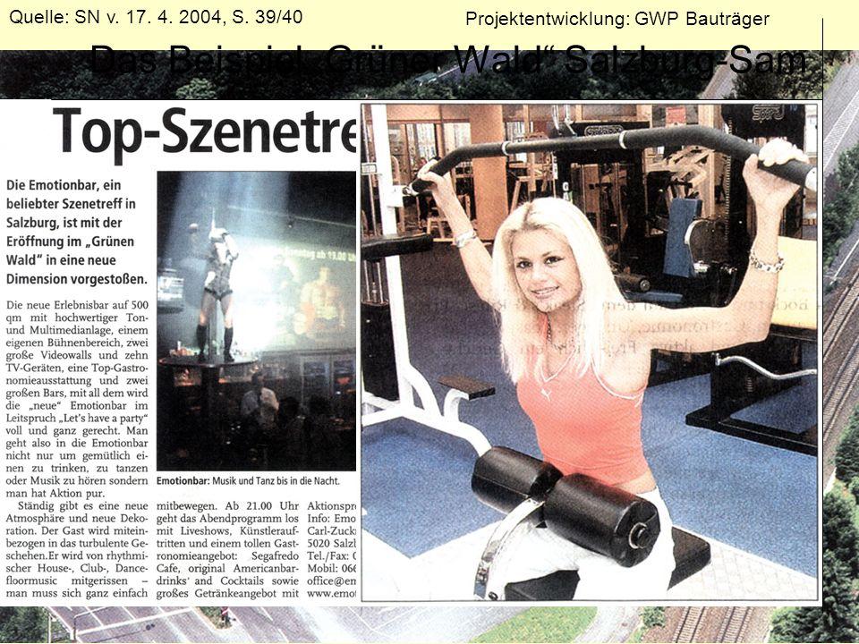 Das Beispiel Grüner Wald Salzburg-Sam Quelle: SN v. 17. 4. 2004, S. 39/40 Projektentwicklung: GWP Bauträger
