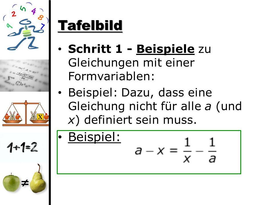 Tafelbild Schritt 1 - Beispiele zu Gleichungen mit einer Formvariablen: Beispiel: Dazu, dass eine Gleichung nicht für alle a (und x) definiert sein mu
