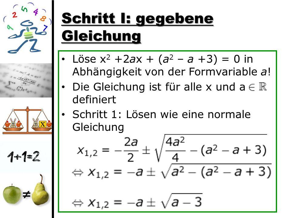 Schritt I: gegebene Gleichung Löse x 2 +2ax + (a 2 – a +3) = 0 in Abhängigkeit von der Formvariable a! Die Gleichung ist für alle x und a definiert Sc