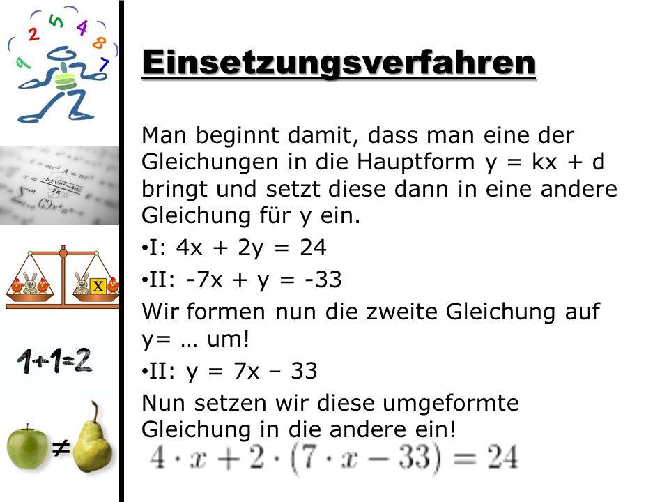 Einsetzungsverfahren Man beginnt damit, dass man eine der Gleichungen in die Hauptform y = kx + d bringt und setzt diese dann in eine andere Gleichung