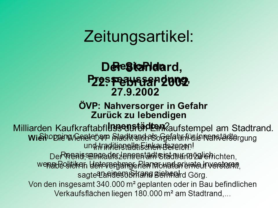 Inhalt: Einzelhandel in Österreich Typologie der Betriebsformen Interne Veränderungen im Einzelhandel Entwicklung des Einzelhandels Raumrelevante Auswirkungen Rechtsprobleme Zukunftsperspektiven