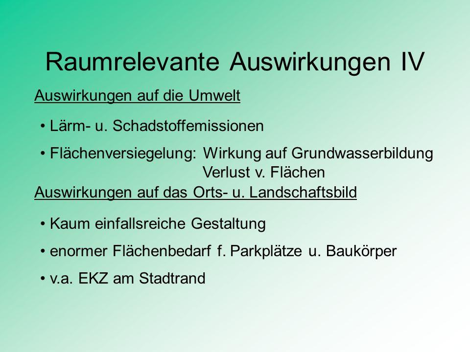 Raumrelevante Auswirkungen IV Auswirkungen auf die Umwelt Lärm- u. Schadstoffemissionen Flächenversiegelung: Wirkung auf Grundwasserbildung Verlust v.