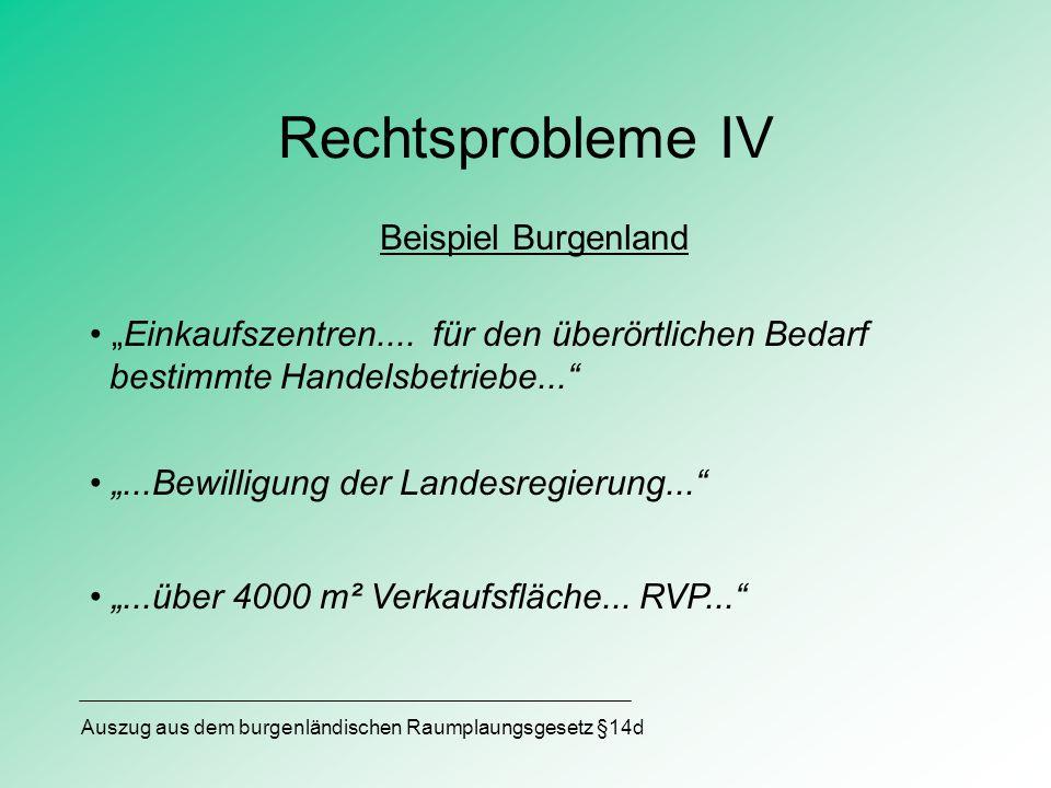 Rechtsprobleme IV Beispiel Burgenland Einkaufszentren.... für den überörtlichen Bedarf bestimmte Handelsbetriebe......Bewilligung der Landesregierung.