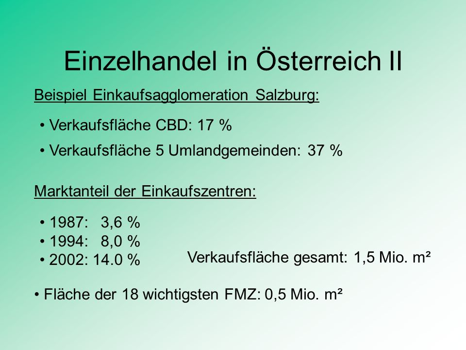 Einzelhandel in Österreich II Marktanteil der Einkaufszentren: 1987: 3,6 % 1994: 8,0 % 2002: 14.0 % Verkaufsfläche gesamt: 1,5 Mio. m² Beispiel Einkau