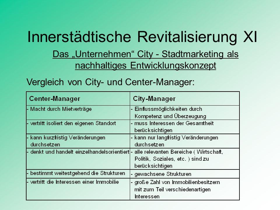 Innerstädtische Revitalisierung XI Das Unternehmen City - Stadtmarketing als nachhaltiges Entwicklungskonzept Vergleich von City- und Center-Manager: