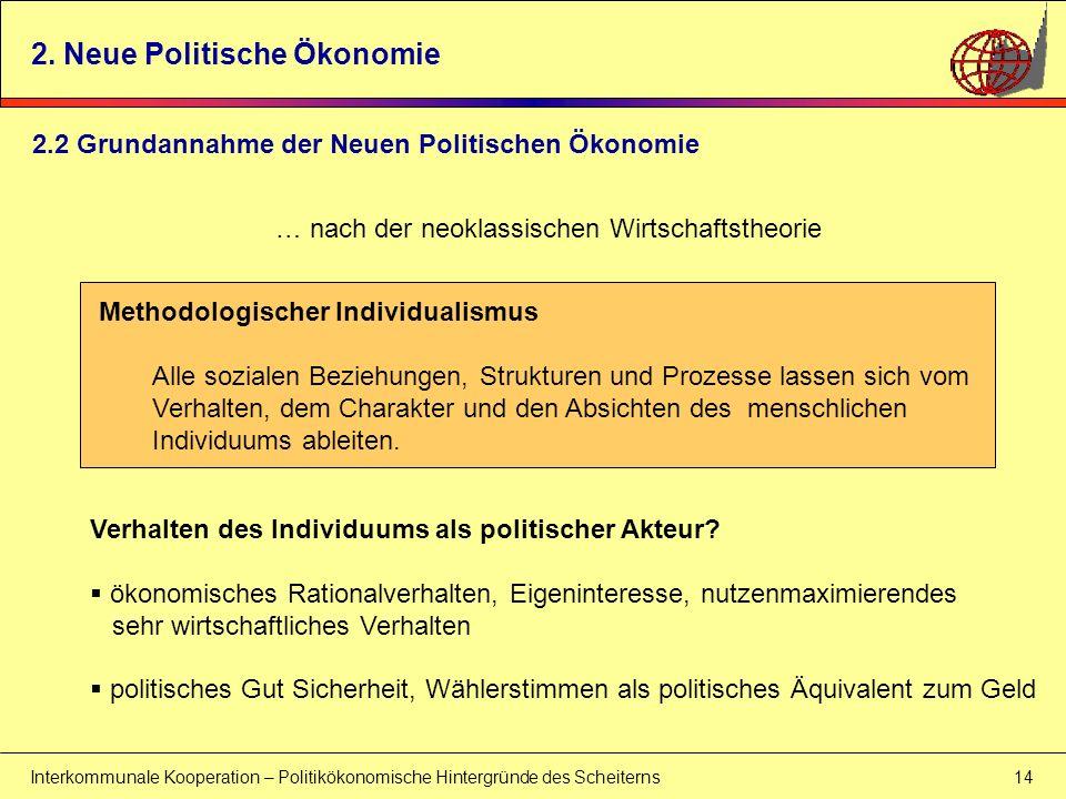 Interkommunale Kooperation – Politikökonomische Hintergründe des Scheiterns 14 Methodologischer Individualismus Alle sozialen Beziehungen, Strukturen