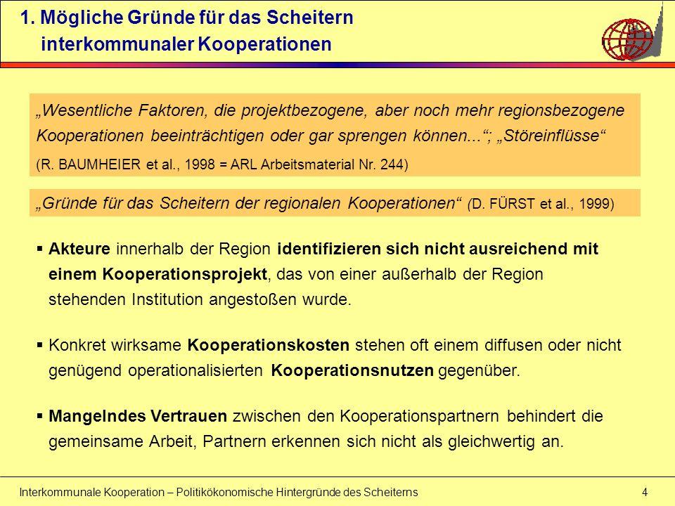 Interkommunale Kooperation – Politikökonomische Hintergründe des Scheiterns 35 5.