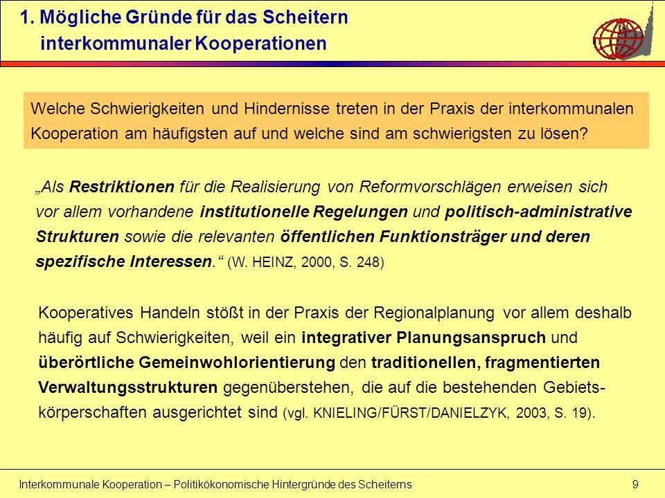 Interkommunale Kooperation – Politikökonomische Hintergründe des Scheiterns 10 1.