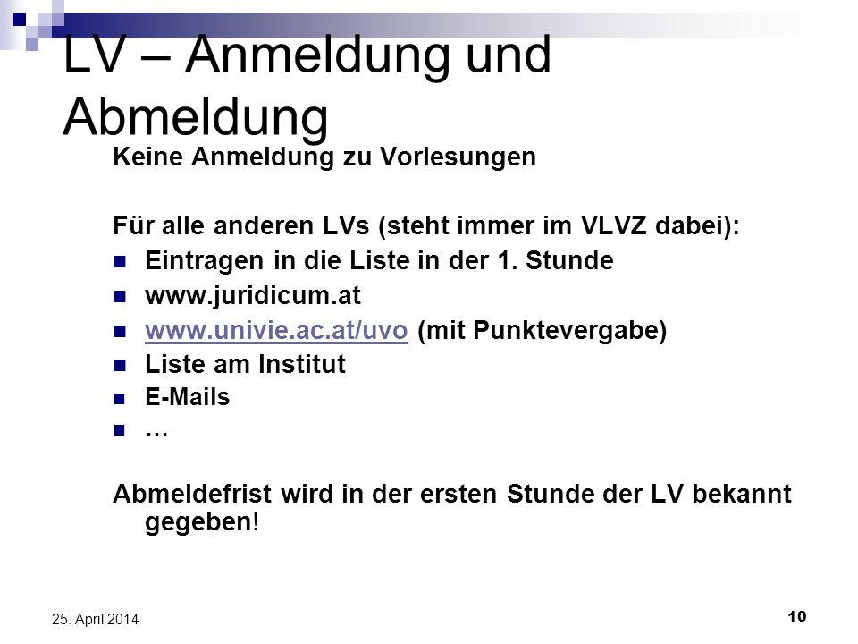 10 25. April 2014 LV – Anmeldung und Abmeldung Keine Anmeldung zu Vorlesungen Für alle anderen LVs (steht immer im VLVZ dabei): Eintragen in die Liste
