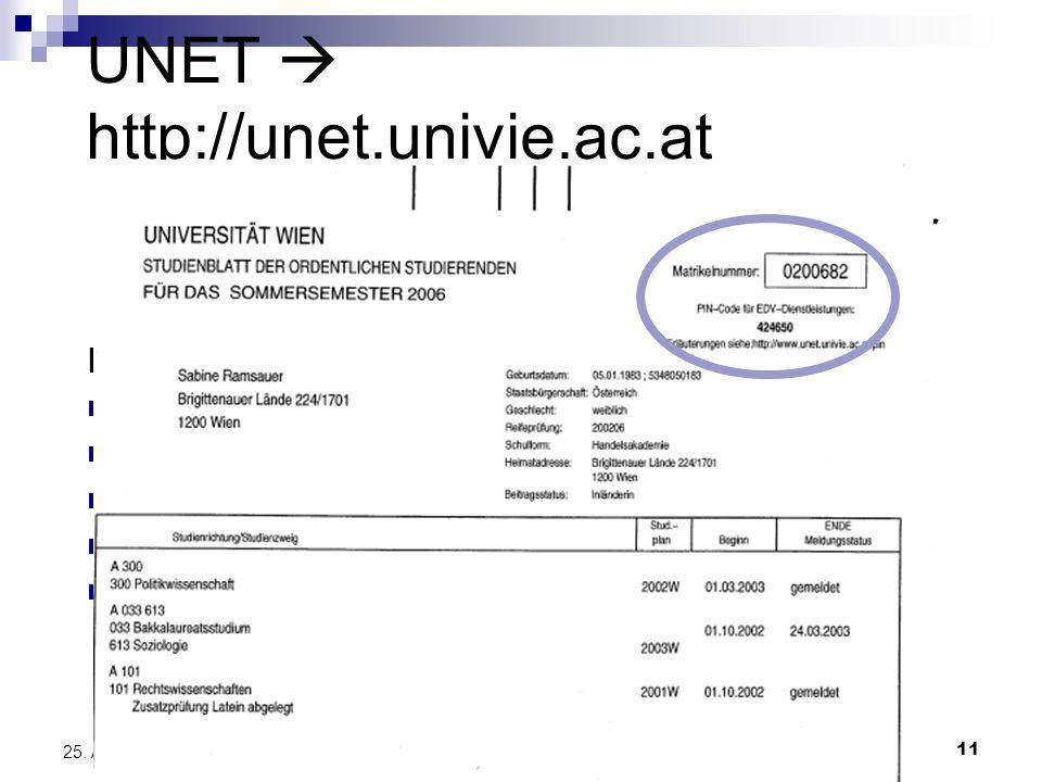 11 25. April 2014 UNET http://unet.univie.ac.at Einmalige Anmeldung auf unet.univie.ac.at, (Studienbuchblatt mit PIN und Matrikelnummer erforderlich)