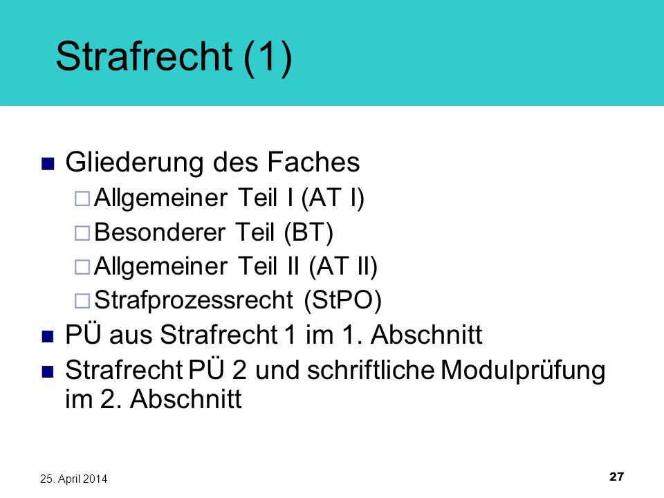 27 25. April 2014 Strafrecht (1) Gliederung des Faches Allgemeiner Teil I (AT I) Besonderer Teil (BT) Allgemeiner Teil II (AT II) Strafprozessrecht (S