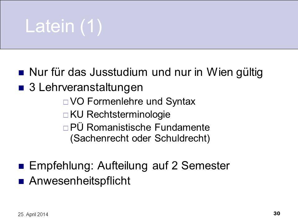 30 25. April 2014 Latein (1) Nur für das Jusstudium und nur in Wien gültig 3 Lehrveranstaltungen VO Formenlehre und Syntax KU Rechtsterminologie PÜ Ro