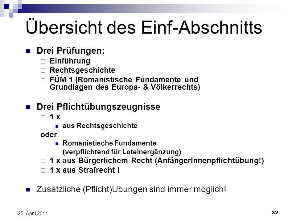 32 25. April 2014 Übersicht des Einf-Abschnitts Drei Prüfungen: Einführung Rechtsgeschichte FÜM 1 (Romanistische Fundamente und Grundlagen des Europa-